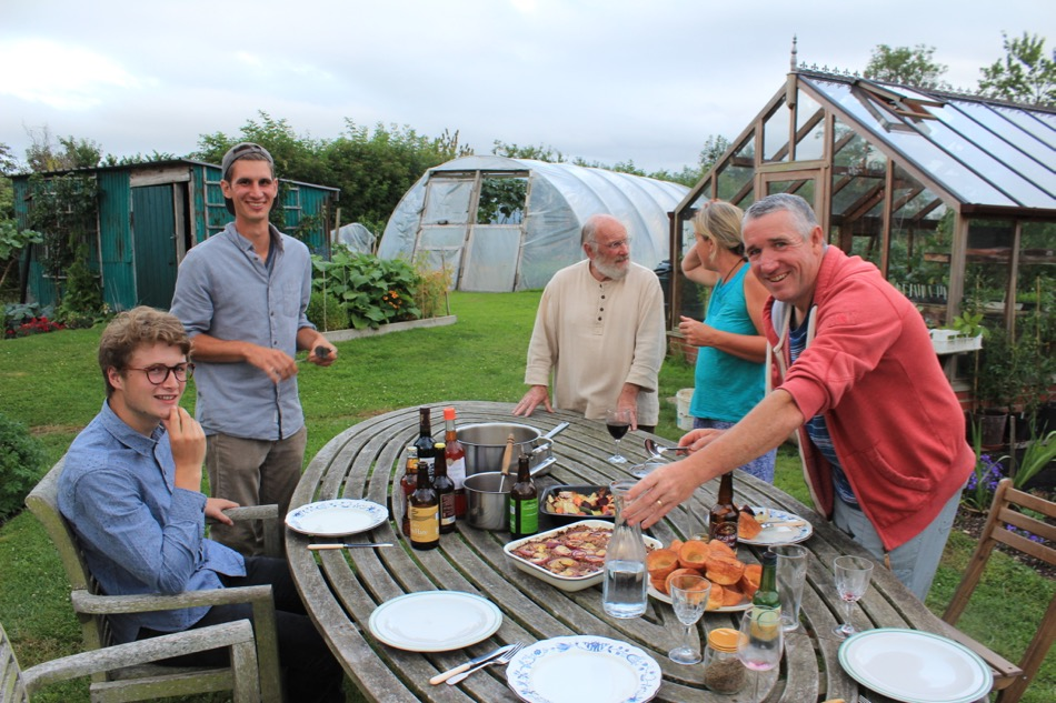 Party for Felix on his last night - Edward my son, Felix, Gert my permaculture neighbour, Steph and Mick (Tasty Leaves)