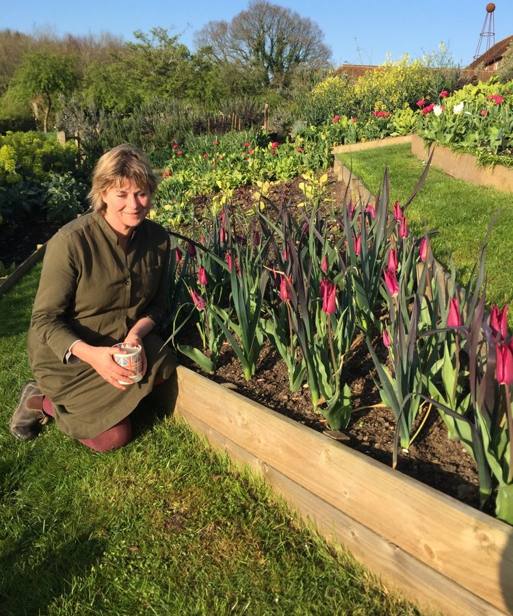 Sarah Raven beside leeks and tulips