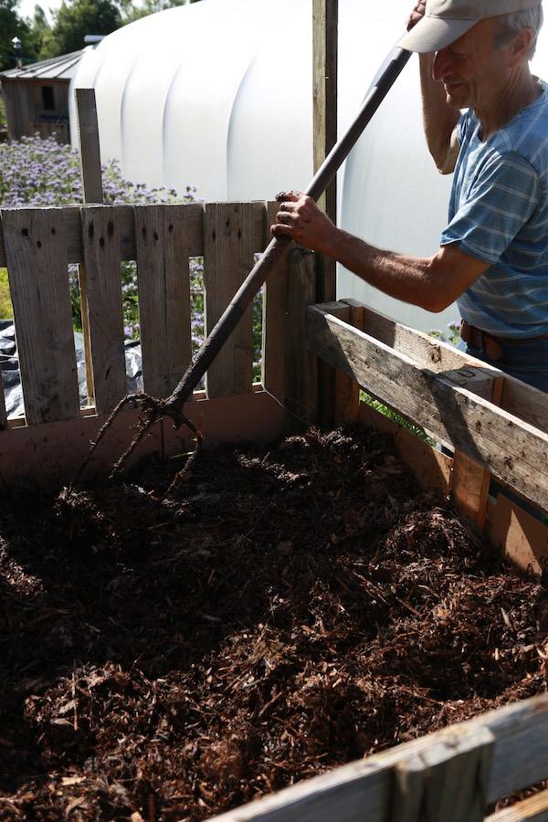 Pallet enclosure for making compost