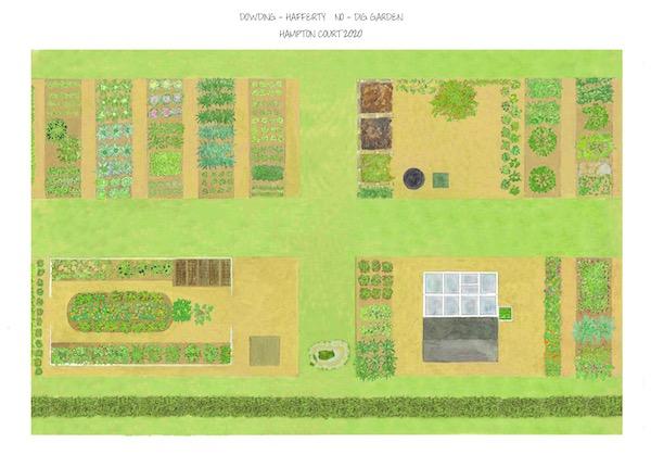 Hampton Court RHS no dig garden outline map