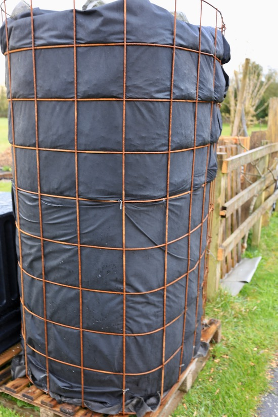 Weldmesh and landscape fabric hold about a ton of woodchip