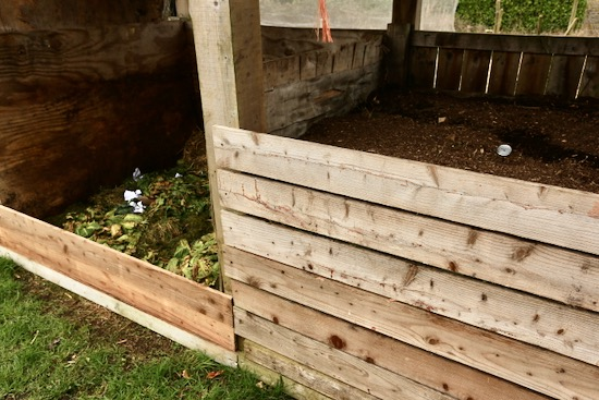 New and finished compost heaps