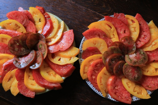 Beef tomato salad for course lunch, Brandywine & Black Russian by Cat Balaam