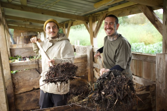 Mitch and Alessandro turning a compost heap at Homeacres